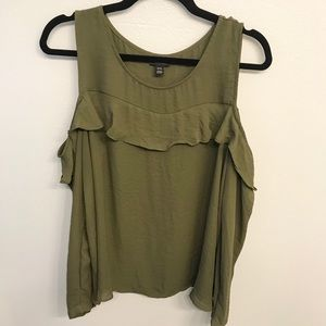 a.n.a. Long Sleeved Open Shoulder Olive Green Top